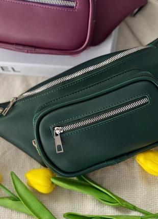 Зелёная женская сумка кросс боди кожзам бананка