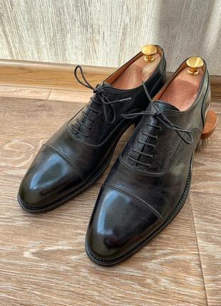 Мужские кожаные черные туфли оксфорды carvari 8 42