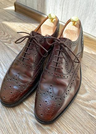 Мужские кожаные коричневые туфли оксфорды броги loake 8,5 42