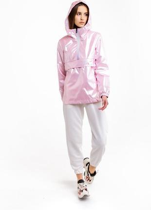 Женский модный анорак спортивна курта дождевик розовый из плащевки летняя спортивка
