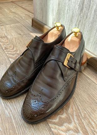 Мужские кожаные коричневые туфли монки броги fratelli rossetti 7,5 41,5 42