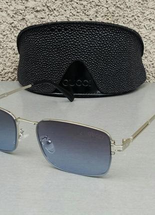 Gucci очки унисекс солнцезащитные модные узкие темно серые в серебре
