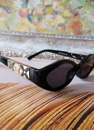 Эксклюзивные брендовые чёрные узкие солнцезащитные женские очки шик!