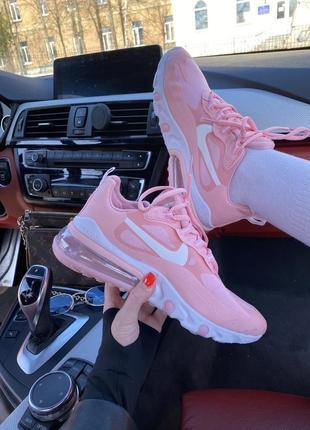 Милые женские кроссовки nike air max 270 react розовые пудровые