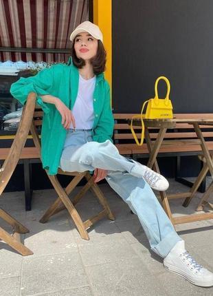 Рубашка льняная зелёная