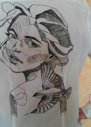 Primark рубашка р.38 ручная роспись