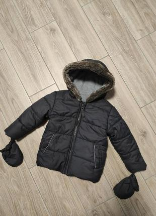 Класная теплая куртка курточка с рукавичками