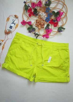 Шикарные хлопковые короткие шорты батал лимонного цвета высокая посадка george