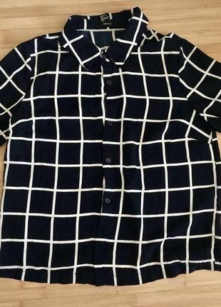 Рубашка в клетку с коротким рукавом, сорочка у клітку з коротким рукавом