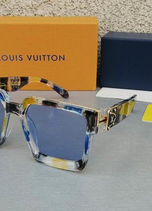 Louis vuitton очки большие модные яркие солнцезащитные женские сине бежевые