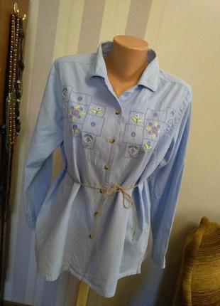 Натуральная хлопковая рубаха блуза с вышивкой большой размер этно