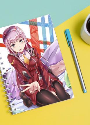 Скетчбук sketchbook для рисования с принтом милый во франксе - darling in the franxx