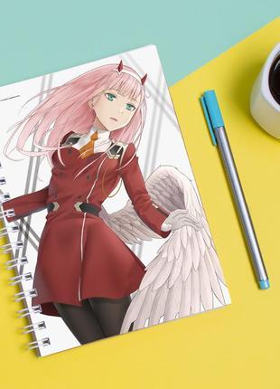 Скетчбук sketchbook для рисования с принтом милый во франксе - darling in the franxx 2