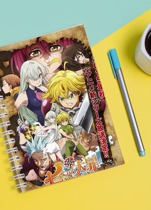 Скетчбук sketchbook для рисования с принтом семь смертных грехов, nanatsu no taizai