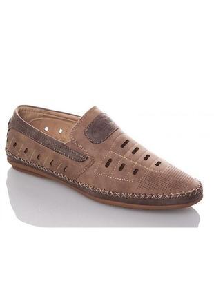 Мужские летние коричневые туфли мокасины с перфорацией