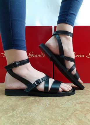 Скидка!стильные кожаные босоножки,сандалии римские чёрные terra grande 36-40р.