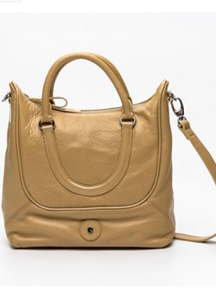 Новая кожаная сумка lamarthe paris бежево-горчичный цвет премиум 100% кожа