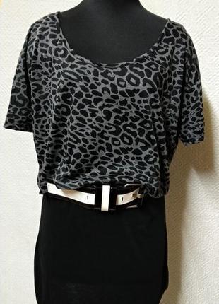 Платье двойка леопардовый принт сарафан с топом черное