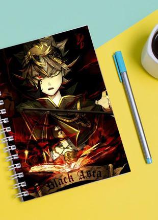 Скетчбук sketchbook для рисования с принтом чёрный клевер