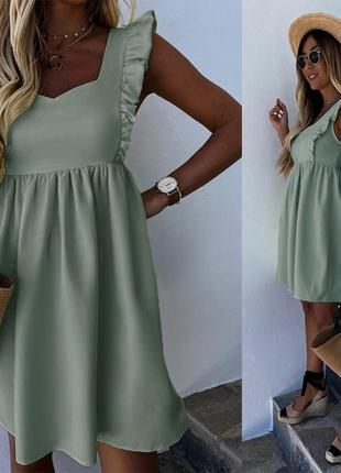 Женское летнее оливковое воздушное платье сарафан с завышенной талией, с рюшами (воланами)