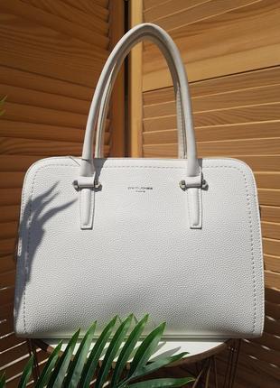 Красивая белая деловая сумка david jones