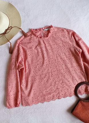 Хлопковая блуза шитье натуральная блузка zara1 фото