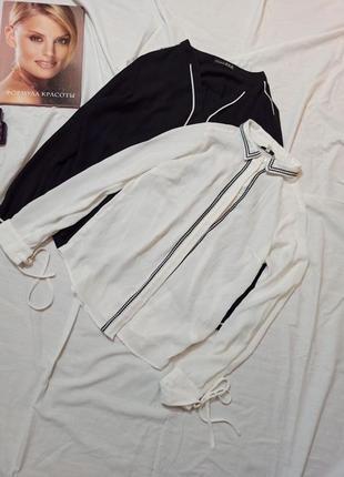 Белая удлиненная блузка рубашка