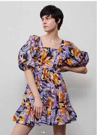Платье reserved с принтом и завязками сзади