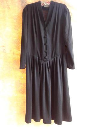 Трикотажное черное платье, xxl.