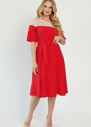 Червона сукня у білу цяточку | 44746
