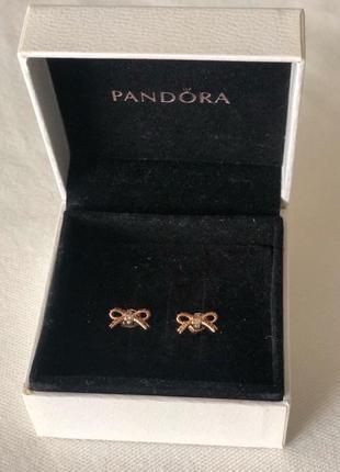 Серьги гвоздики pandora серебро покрытое 14k золотом