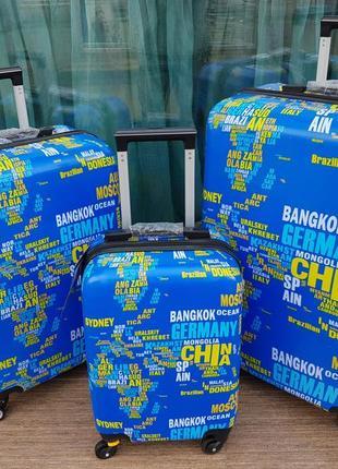 Качество! чемодан пластиковый для ручной клади страны с двойными колесами
