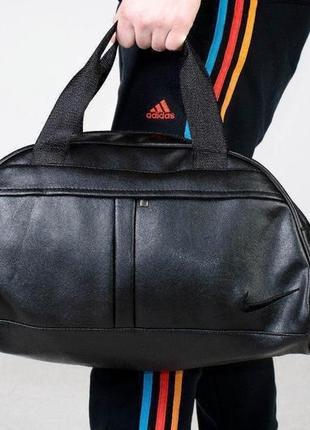 Топ продаж ‼️спортивная дорожная сумка из качественного ☝️кожзама с чёрным вышитым лого