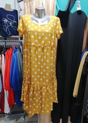 Платье разлетайка в горох с воланами и рюшами