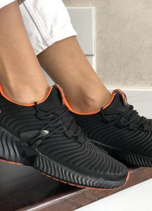 Модные летние кроссовки ,черные с оранжевым