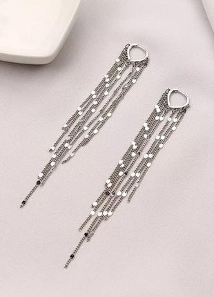 Серьги сережки серебряные длинные серебро 925 пробы висюльки висячие