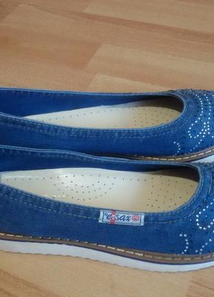 Джинсовые мокасины туфли в стразах