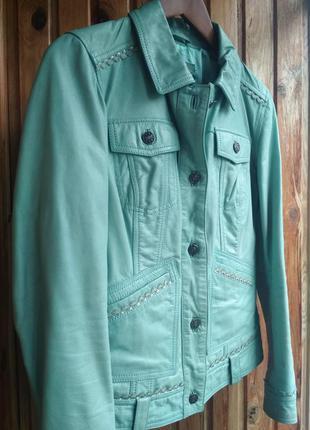 Мятная кожаная куртка кожаный пиджак best connection натуральная кожа1