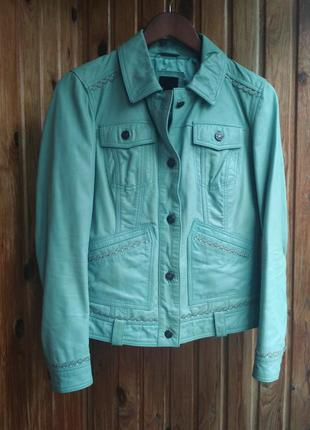 Мятная кожаная куртка кожаный пиджак best connection натуральная кожа2
