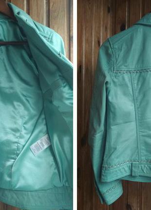 Мятная кожаная куртка кожаный пиджак best connection натуральная кожа3