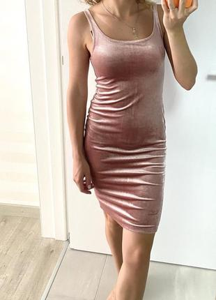 Велюровое пудровое платье zara в бельевом стиле