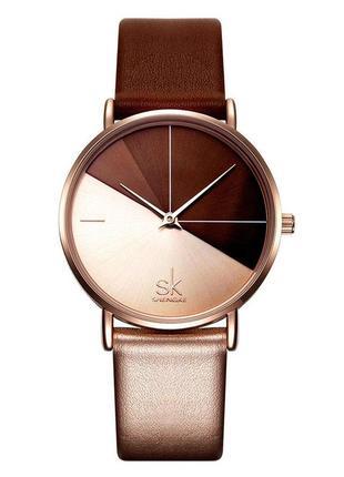Женские наручные часы shengke duos brown