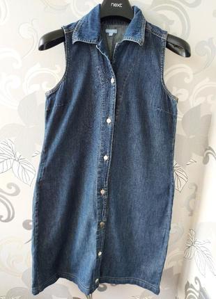 Тёмно синее джинсовое платье на пуговицах джинсовый сарафан платье рубашка