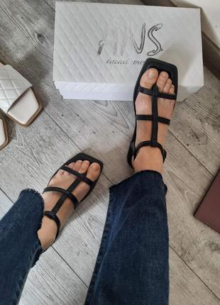 Кожаные сандалии через палец натуральная кожа римские босоножки