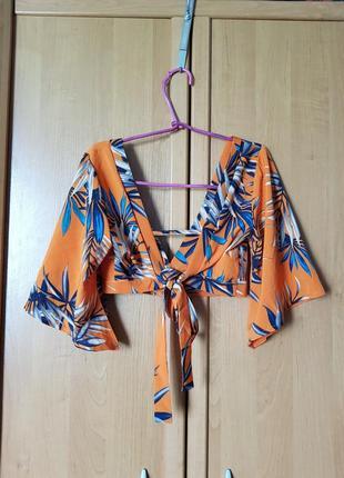 Лёгкий летний топ, оранжевый топик с вырезами и на завязке, блуза-топ