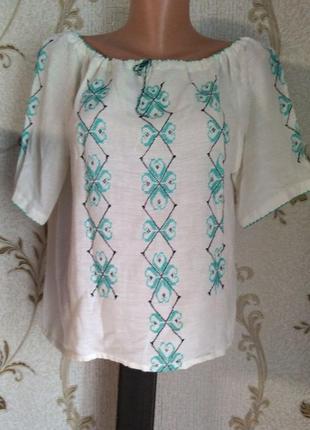 Вышиванка рубашка с ручной вышивкой хлопок р 36, 38