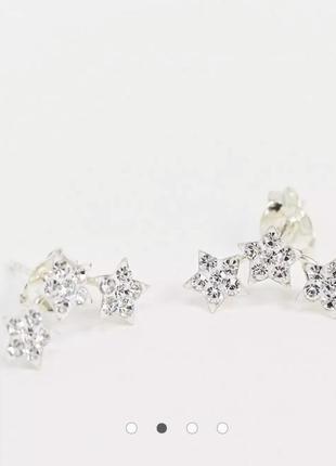 Срібні сережки квіти, серебряные серьги гвоздики цвети kingsley ryan asos