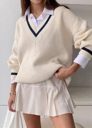 Белый свитер,женский свитер,поло,свитер, кофта