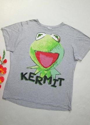 Шикарная хлопковая футболка серый меланж с мультяшним принтом muppets show disney.