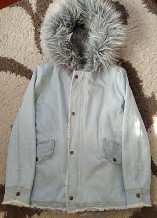 Супер стильная джинсовая курточка парка3 фото